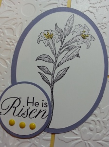 close up of front of card detail
